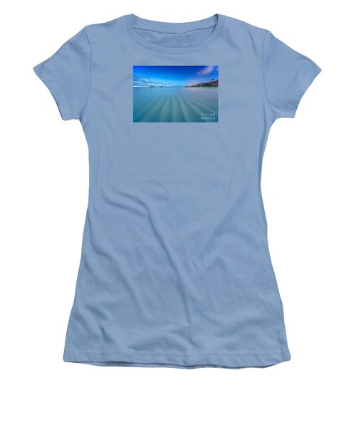 Women's T-Shirt (Junior Cut) featuring the photograph Lanikai Beach Ripples In The Sand Wide by Aloha Art