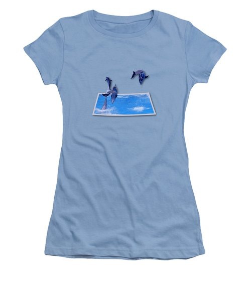 Leaping Dolphins Women's T-Shirt (Junior Cut) by Roger Wedegis
