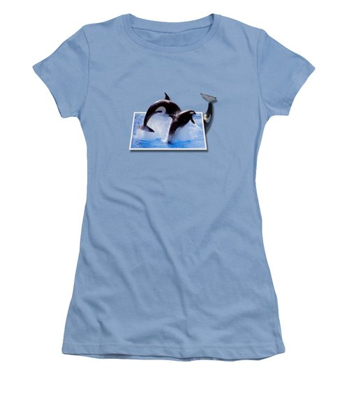 Leaping Orcas Women's T-Shirt (Junior Cut) by Roger Wedegis