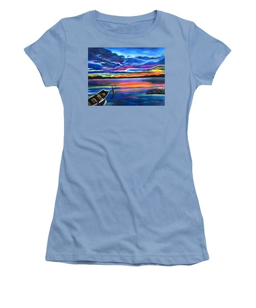 Left Alone A Seascape Boat Painting At Sunset  Women's T-Shirt (Athletic Fit)