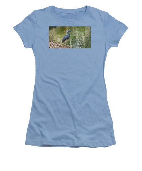 Lesser Blue Heron In Mating Plumage Women's T-Shirt (Junior Cut) by Judy Wanamaker