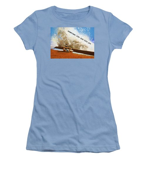 Life Hits You Greeting Card Women's T-Shirt (Junior Cut)