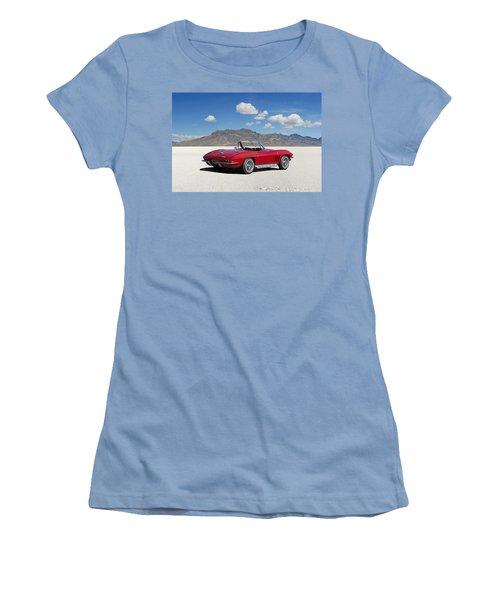 Women's T-Shirt (Junior Cut) featuring the digital art Little Red Corvette by Peter Chilelli