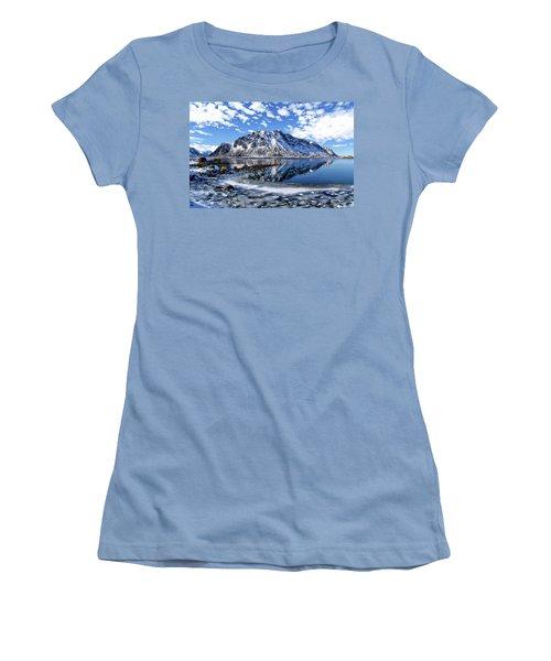 Lofoten Winter Scene Women's T-Shirt (Athletic Fit)