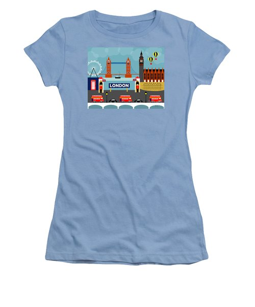 London England Horizontal Scene - Collage Women's T-Shirt (Athletic Fit)