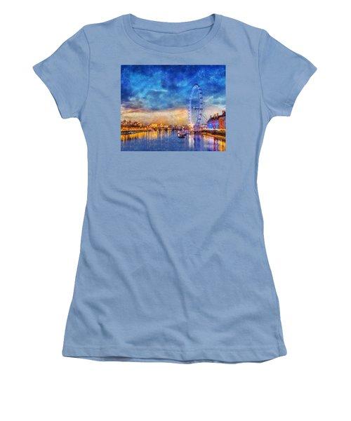 London Eye Women's T-Shirt (Junior Cut) by Ian Mitchell