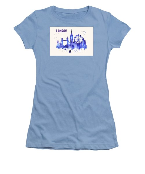 London Skyline Watercolor Poster - Cityscape Painting Artwork Women's T-Shirt (Athletic Fit)