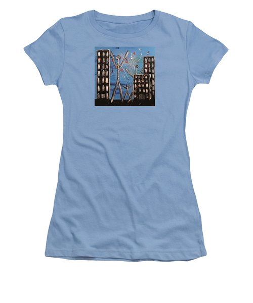 Women's T-Shirt (Junior Cut) featuring the painting Lost Cities 13-003 by Mario Perron