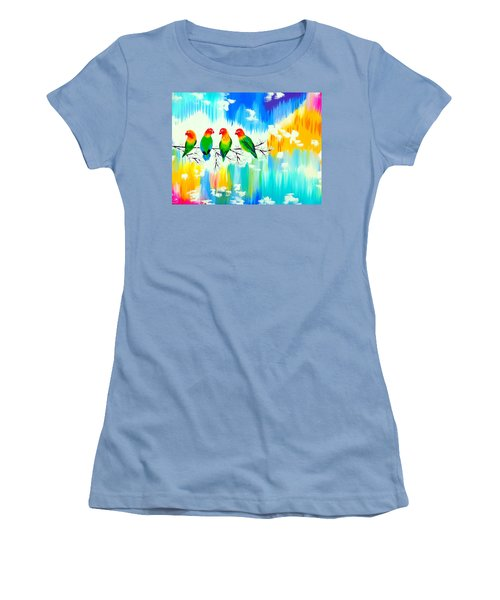 Lovebirds On A Branch Women's T-Shirt (Junior Cut) by Cathy Jacobs