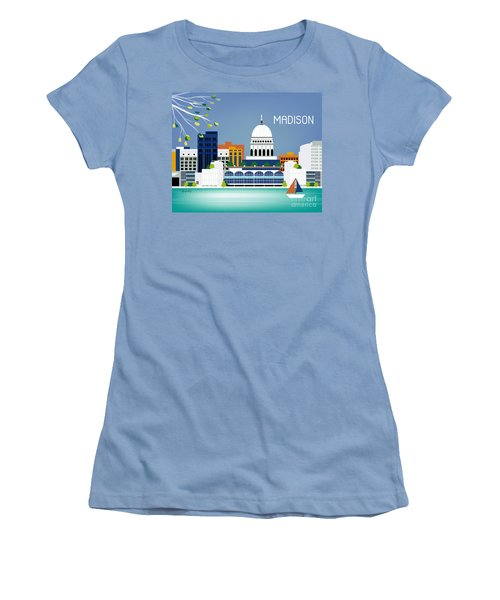 Madison Wisconsin Horizontal Skyline Women's T-Shirt (Athletic Fit)
