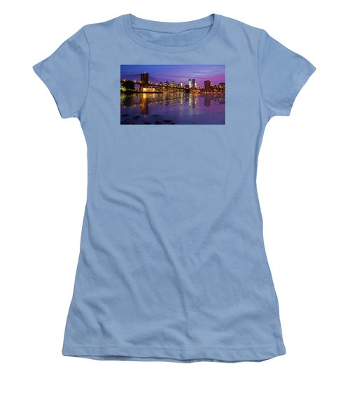 Women's T-Shirt (Junior Cut) featuring the photograph Manhattan Reflection by Mircea Costina Photography