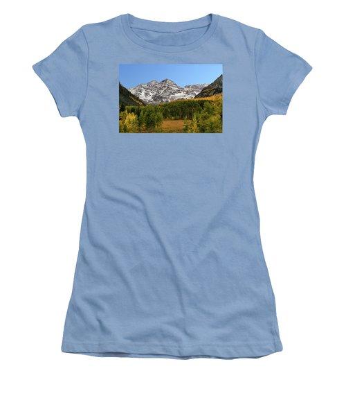 Women's T-Shirt (Junior Cut) featuring the photograph Maroon Bells by Dana Sohr