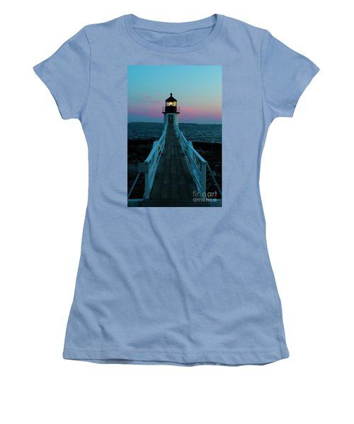 Marshall Point Lighthouse At Sunset Women's T-Shirt (Athletic Fit)