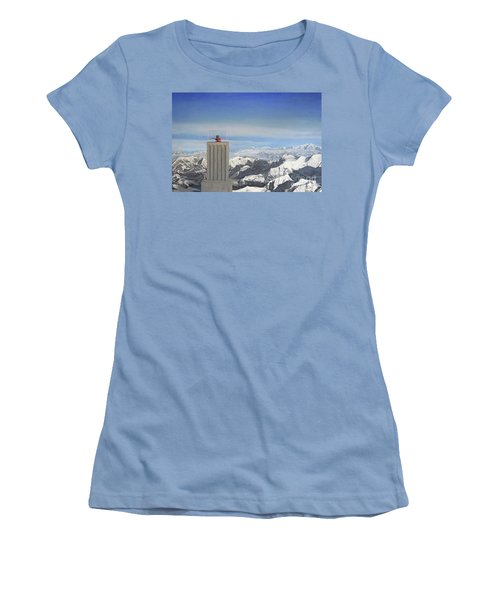 Meeting Table Oil On Canvas Women's T-Shirt (Athletic Fit)
