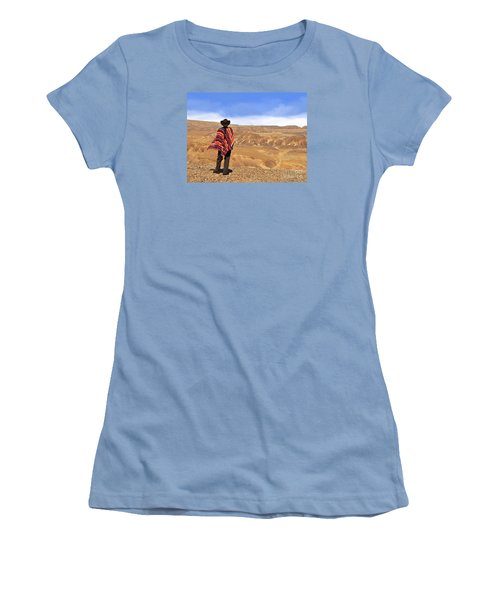 Man In A Poncho In The Desert Women's T-Shirt (Athletic Fit)