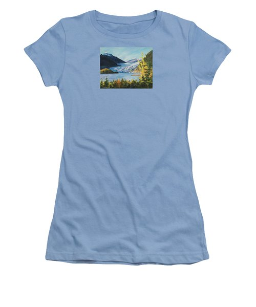 Women's T-Shirt (Athletic Fit) featuring the painting Mendenhall Glacier Juneau Alaska by Yulia Kazansky