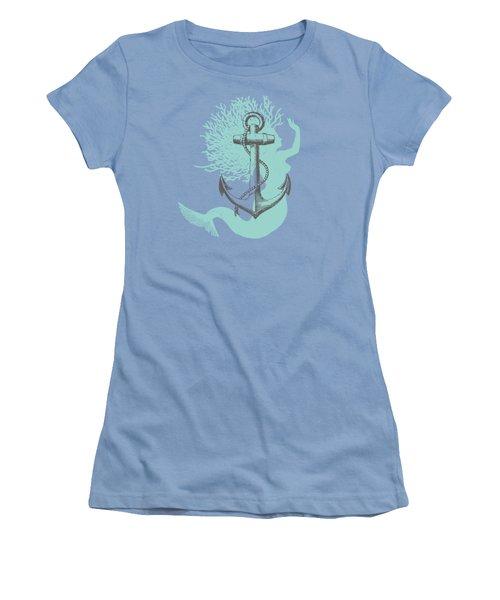 Mermaid And Anchor Women's T-Shirt (Junior Cut) by Sandra McGinley