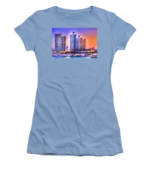 Women's T-Shirt (Junior Cut) featuring the photograph Miami Skyline Sunrise by Shelley Neff
