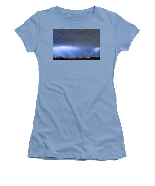 Women's T-Shirt (Junior Cut) featuring the photograph Michelangelo Lightning Strikes Oil by James BO Insogna