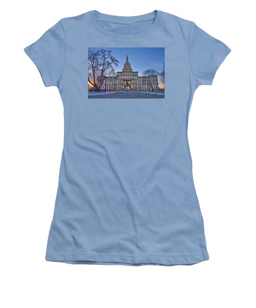 Women's T-Shirt (Junior Cut) featuring the photograph Michigan State Capitol by Nicholas Grunas