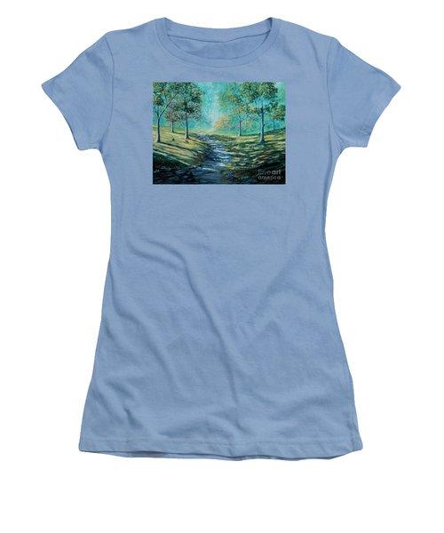 Misty Morning Path Women's T-Shirt (Junior Cut) by Ruanna Sion Shadd a'Dann'l Yoder