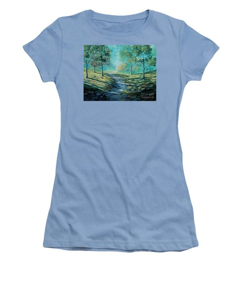 Misty Morning Path Women's T-Shirt (Athletic Fit)