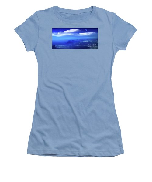 Misty Mountains Of San Salvador Panorama Women's T-Shirt (Junior Cut) by Al Bourassa