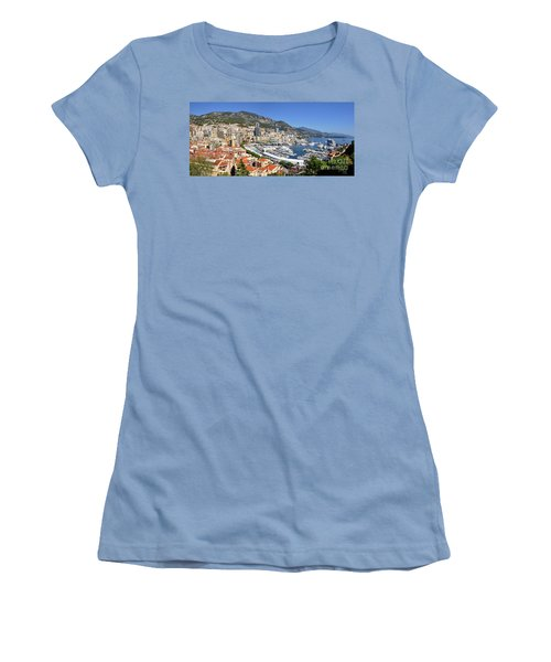 Women's T-Shirt (Junior Cut) featuring the photograph Monaco Port Hercule Panorama by Yhun Suarez
