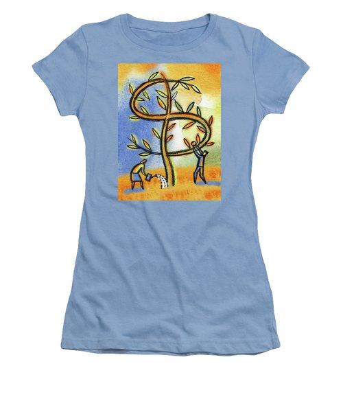 Women's T-Shirt (Junior Cut) featuring the painting Money Tree by Leon Zernitsky