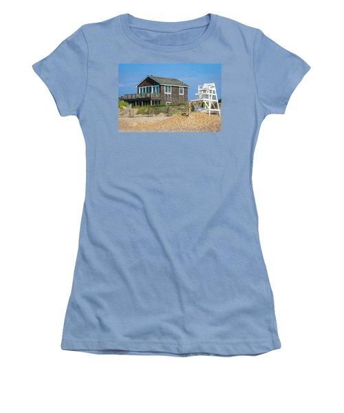 Women's T-Shirt (Junior Cut) featuring the photograph Montauk Beach Life by Art Block Collections