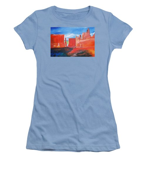 Women's T-Shirt (Junior Cut) featuring the painting Monument Valley  by Eric  Schiabor