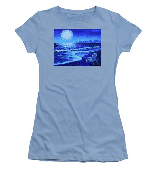 Moon Beach Women's T-Shirt (Athletic Fit)