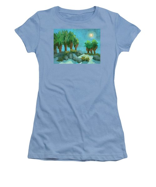 Women's T-Shirt (Junior Cut) featuring the painting Moon Shadows Indian Canyon by Diane McClary