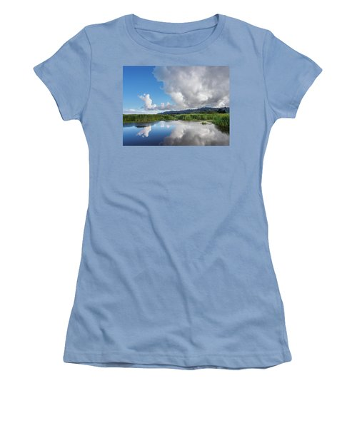 Women's T-Shirt (Junior Cut) featuring the photograph Morning Reflections On A Marsh Pond by Greg Nyquist