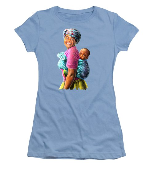 Mother And Child Women's T-Shirt (Junior Cut) by Anthony Mwangi