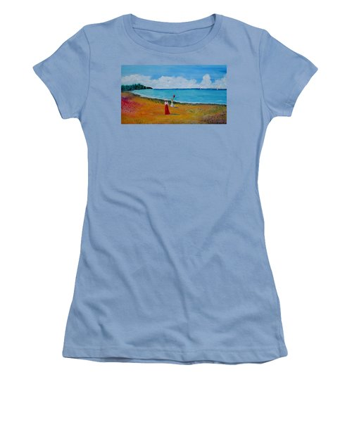 Women's T-Shirt (Junior Cut) featuring the painting Mother And Daughter by Marilyn  McNish