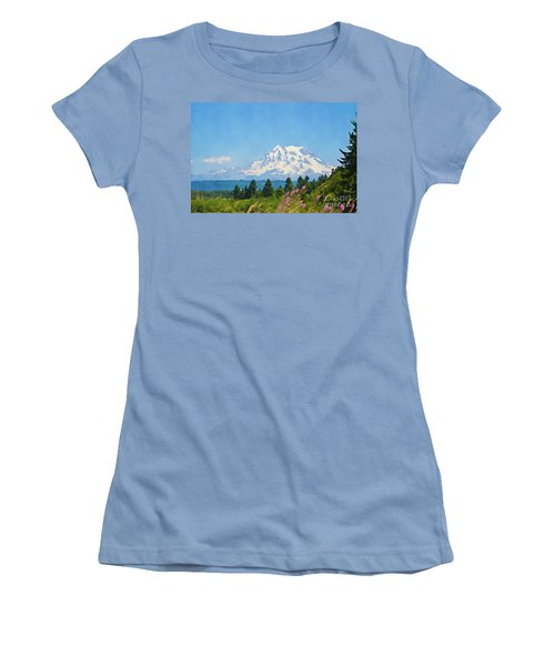 Mount Rainier Watercolor Women's T-Shirt (Athletic Fit)