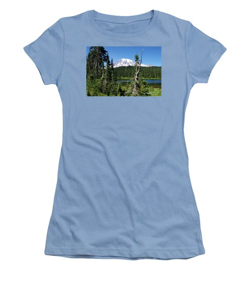 Mountain Lake And Mount Rainier Women's T-Shirt (Junior Cut) by Ansel Price