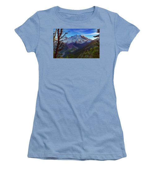 Mt Rainier At Emmons Glacier Women's T-Shirt (Junior Cut)