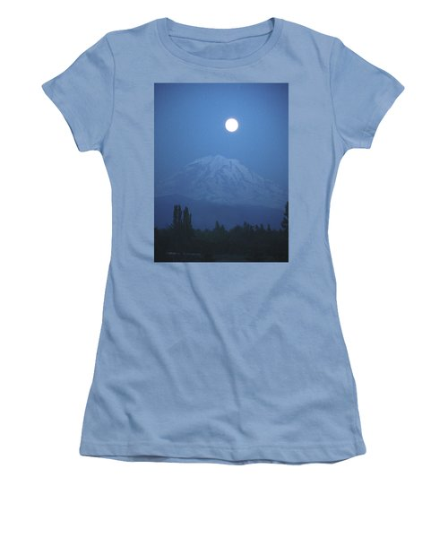 Mt Rainier Full Moon Women's T-Shirt (Athletic Fit)