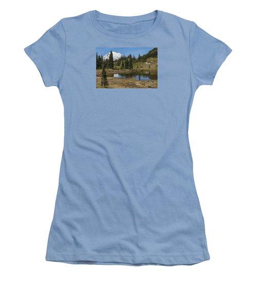 Mt Rainier Reflection Landscape Women's T-Shirt (Junior Cut) by Chuck Flewelling