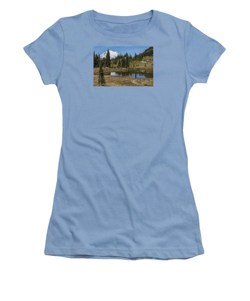 Mt Rainier Reflection Landscape Women's T-Shirt (Athletic Fit)