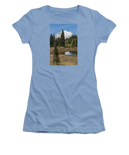 Mt Rainier Reflection Portrait Women's T-Shirt (Athletic Fit)