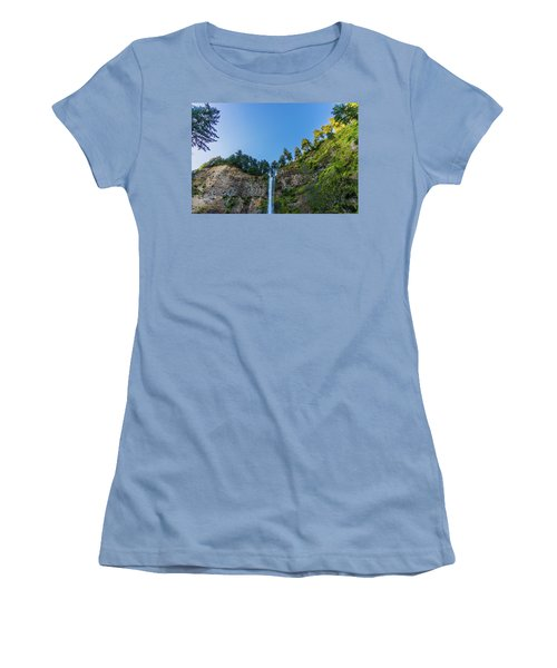 Women's T-Shirt (Athletic Fit) featuring the photograph Multnomah Falls Cliff by Jonny D