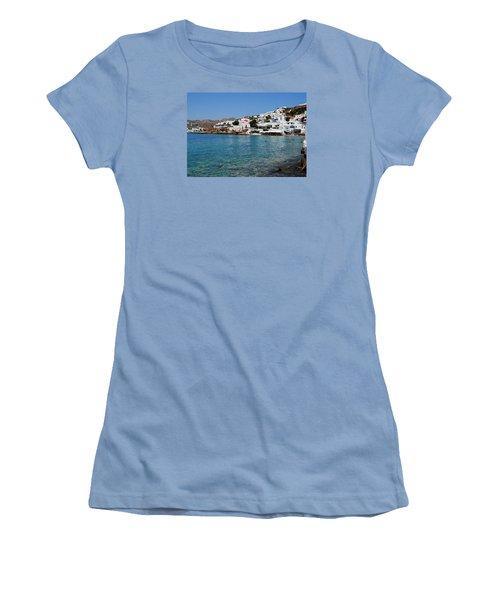 Mykonos Beach Women's T-Shirt (Junior Cut) by Robert Moss