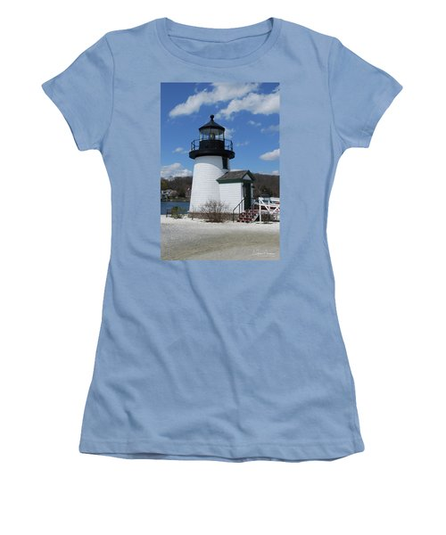 Mystic Lighthouse Women's T-Shirt (Junior Cut) by Gordon Mooneyhan