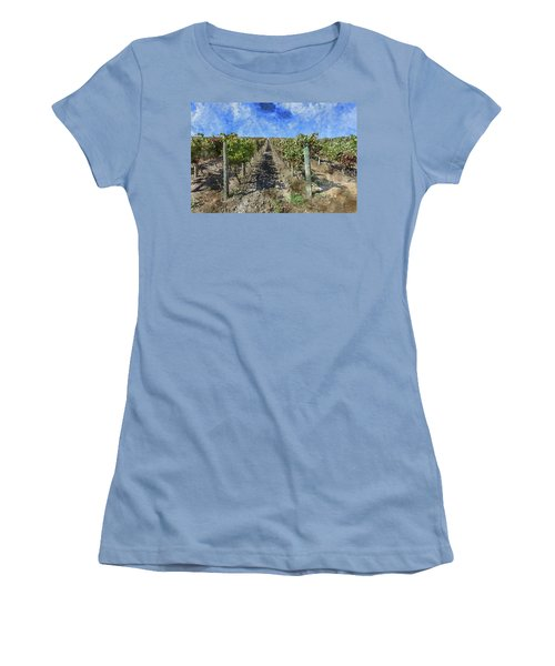 Napa Valley Vineyard - Rows Of Grapes Women's T-Shirt (Athletic Fit)