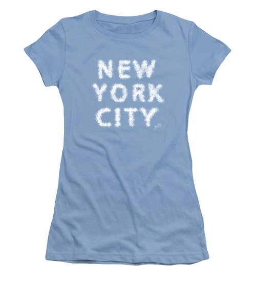 Women's T-Shirt (Junior Cut) featuring the painting New York City Skywriting Typography by Georgeta Blanaru
