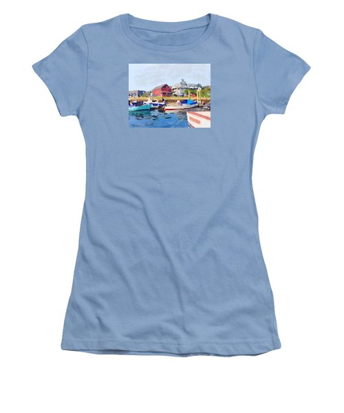 North Shore Art Association At Pirates Lane On Reed's Wharf From Beacon Marine Basin Women's T-Shirt (Junior Cut) by Melissa Abbott