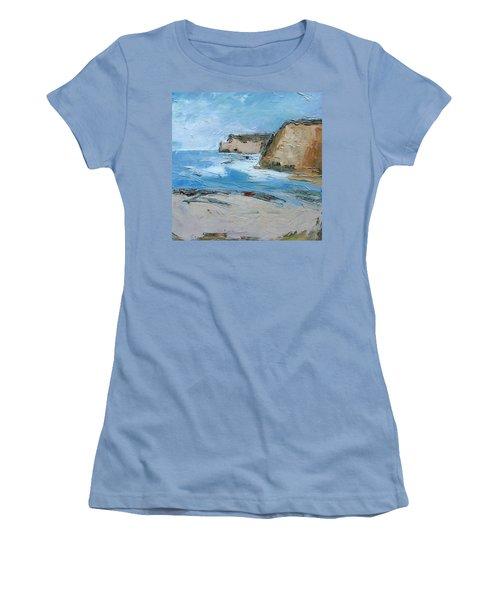 Women's T-Shirt (Junior Cut) featuring the painting Ocean Cliffs by Gary Coleman
